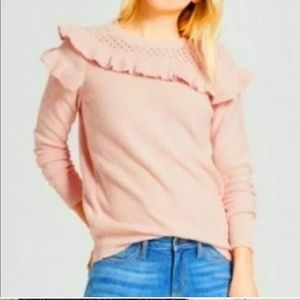 Who What Wear Crewneckeck Ruffle Pink Sweater